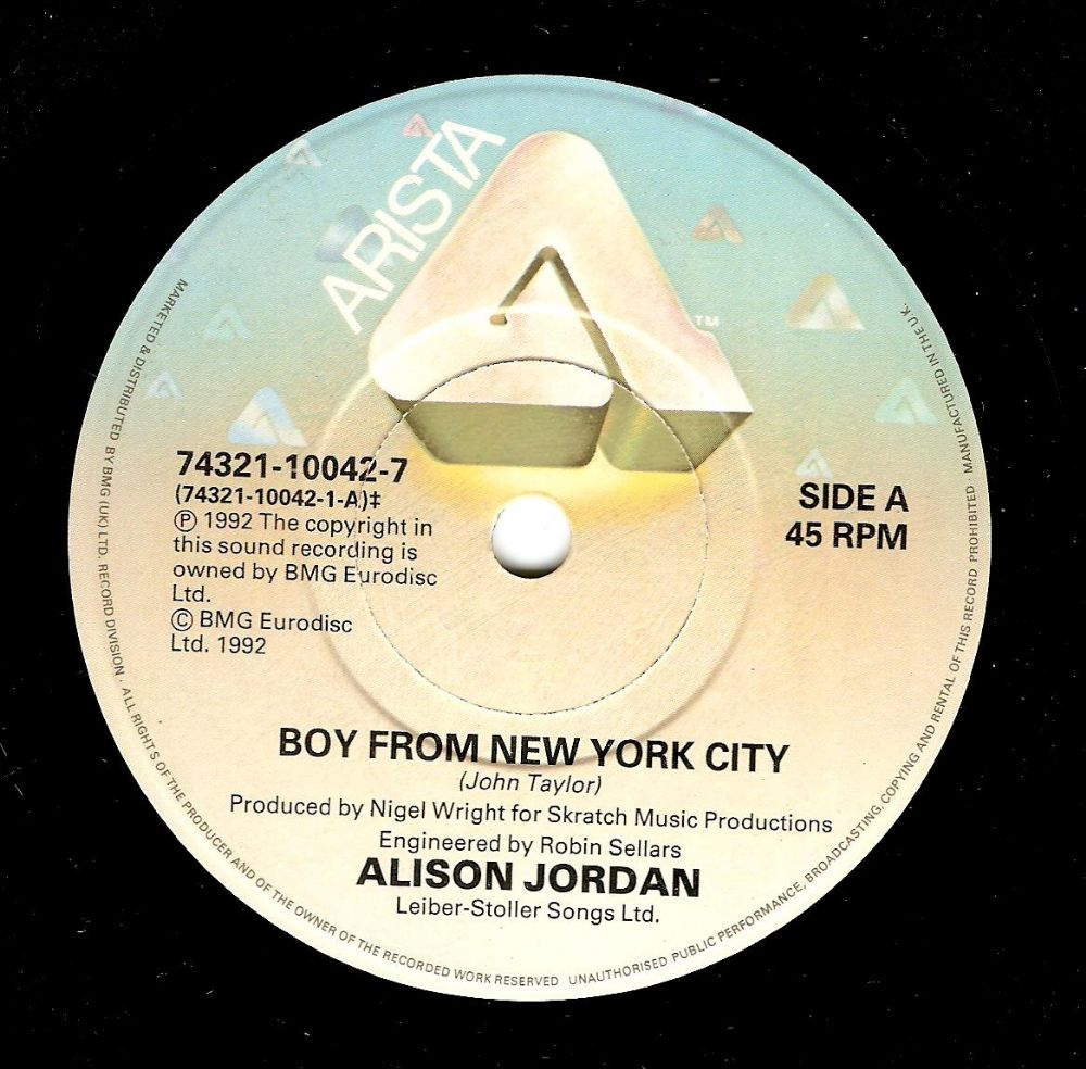 ALISON JORDAN Boy From New York City Vinyl Record 7 Inch Arista 1992